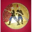 Médaille 70 mm Pompiers Émaillée Couleurs + Écrin de présentation